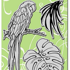 Stampendous-CRS5061-Jumbo-Cling-Rubber-Stamp-Set-With-Template-Parrot-29600-p